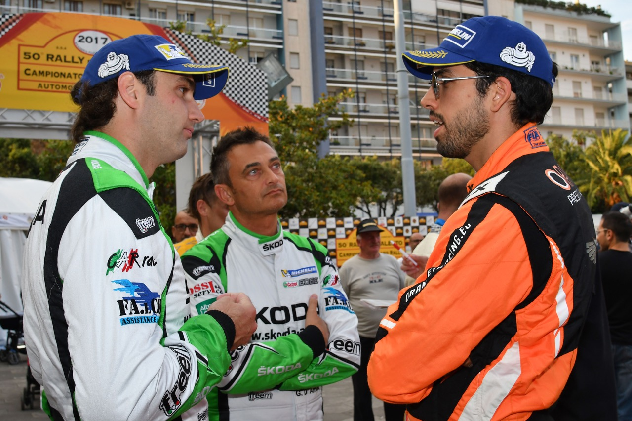 Umberto Scandola (ITA) - Guido D'amore (ITA) - Skoda Fabia R/R5, Car Racing, Simone Campedelli (ITA) - Ford Fiesta R5, Orange 1 Racing