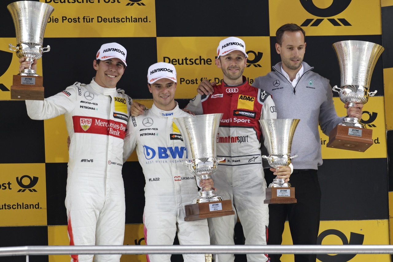 Robert Wickens (CAN) - Mercedes-AMG C 63 DTM Mercedes-AMG Motorsport Mercedes me Lucas Auer (AUT) - Mercedes-AMG C63 DTM Mercedes-AMG Motorport BWT RenÈ Rast (GER) - Audi RS 5 DTM Audi Sport Team Rosberg 20.05.2017, DTM Round 2, Lausitzring, Germany, Saturday.  - www.xpbimages.com, EMail: requests@xpbimages.com - copy of publication required for printed pictures. Every used picture is fee-liable. © Copyright: Kr‰ling / XPB Images