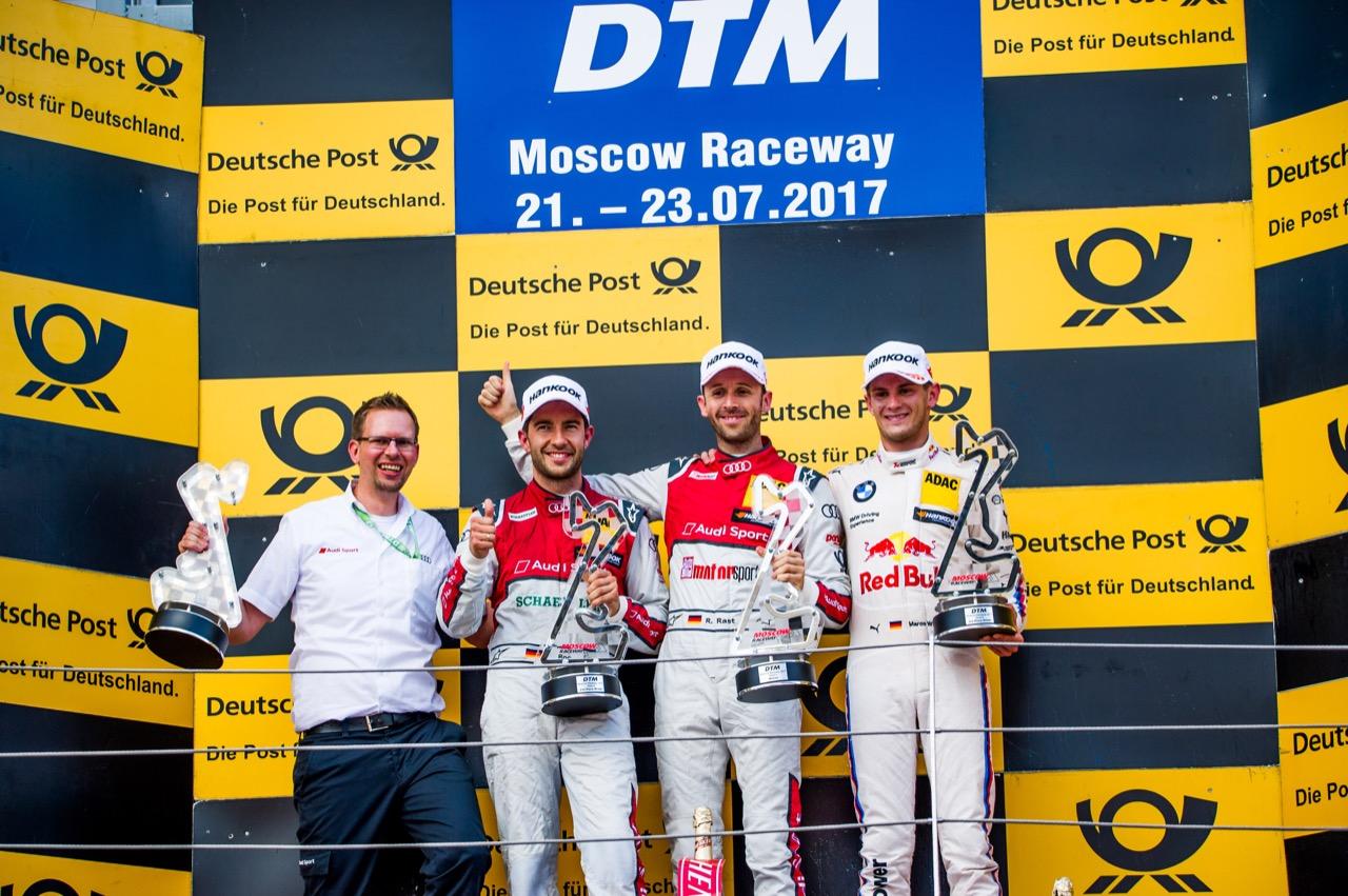 René Rast (GER) Audi Sport Team Rosberg, Audi RS 5 DTM Mike Rockenfeller (GER) Audi Sport Team Phoenix, Audi RS 5 DTM Marco Wittmann (GER) BMW Team RMG, BMW M4 DTM DTM podium 22.07.2017