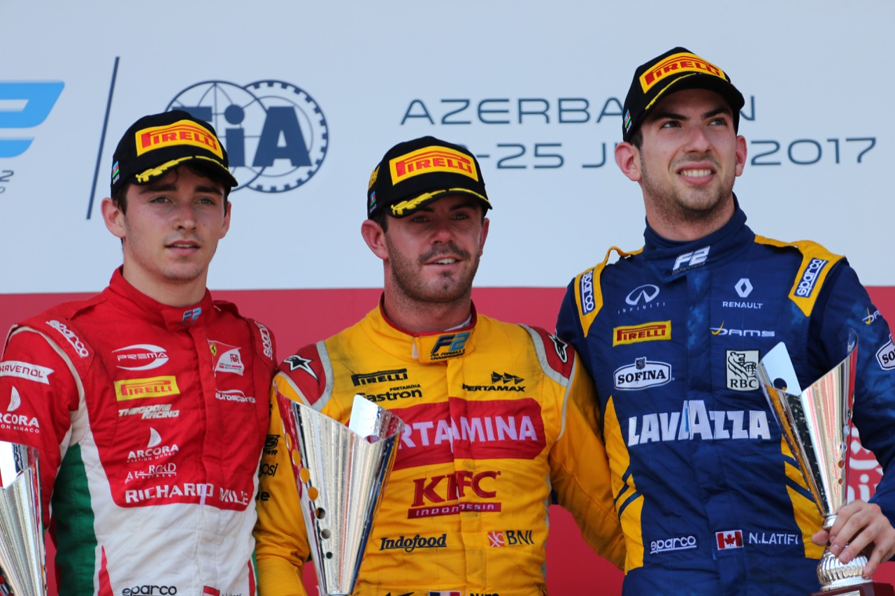 25.06.2017 - Race 2, 1st place  Norman Nato (FRA) Pertamina Arden, 2nd place Charles Leclerc (MON) PREMA Racing and 3rd place Nicolas Latifi (CAN) Dams