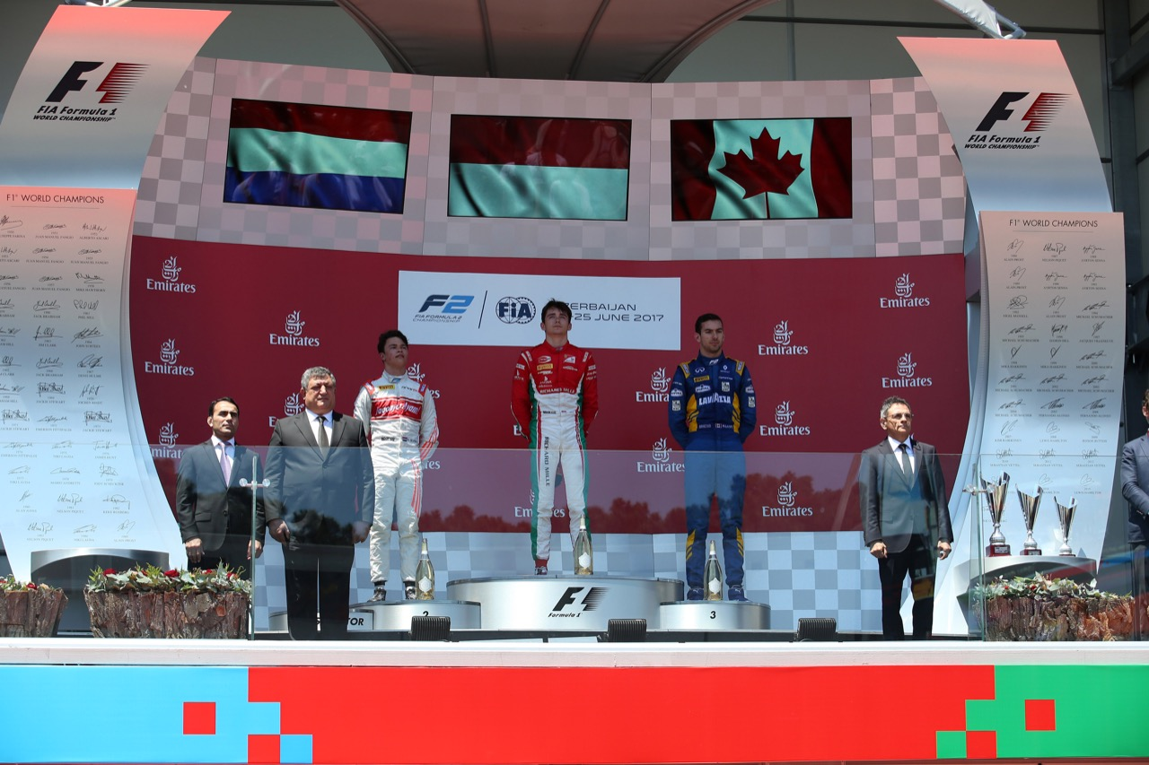 24.06.2017 - Race 1, 1st place Charles Leclerc (MON) PREMA Racing, 2nd place Nyck De Vries (HOL) Rapax and 3rd place Nicolas Latifi (CAN) Dams