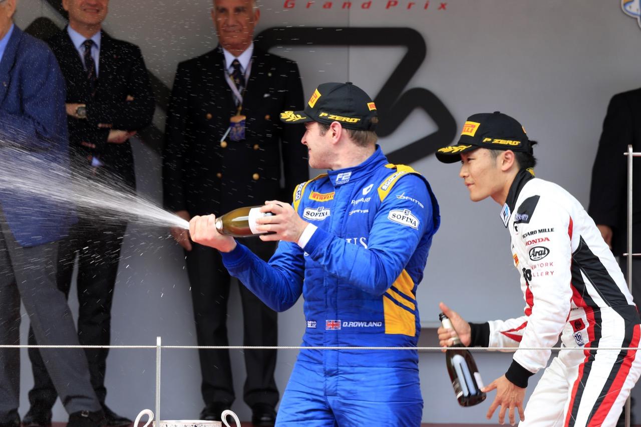 26.05.2017 - Race 1, Oliver Rowland (GBR) DAMS race winner amd 3rd place Nobuharu Matsushita (JAP) Art Grand Prix