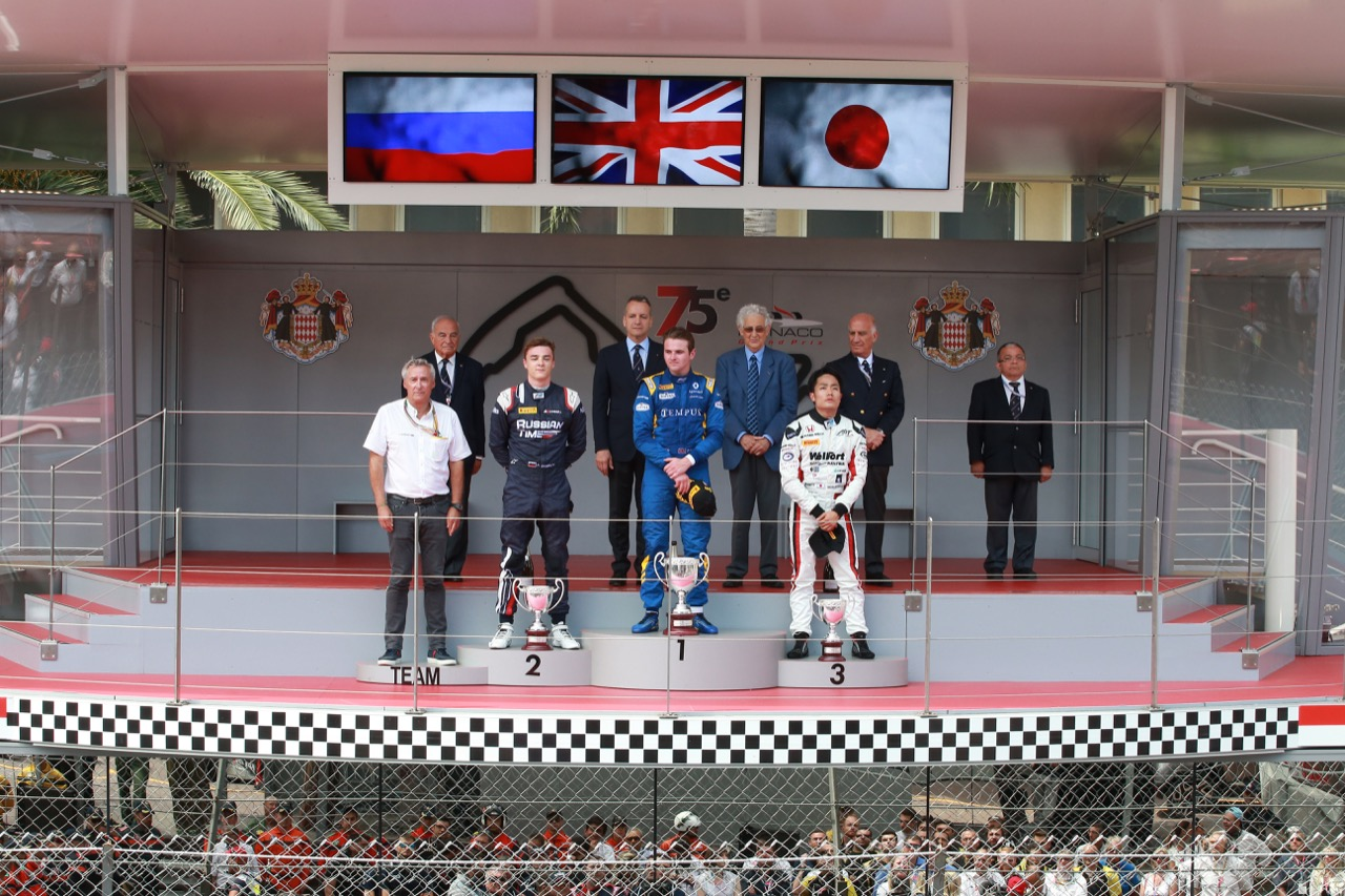 26.05.2017 - Race 1, 1st place Oliver Rowland (GBR) DAMS, 2nd place Artem Markelov (Rus) Russian Time and 3rd place Nobuharu Matsushita (JAP) Art Grand Prix