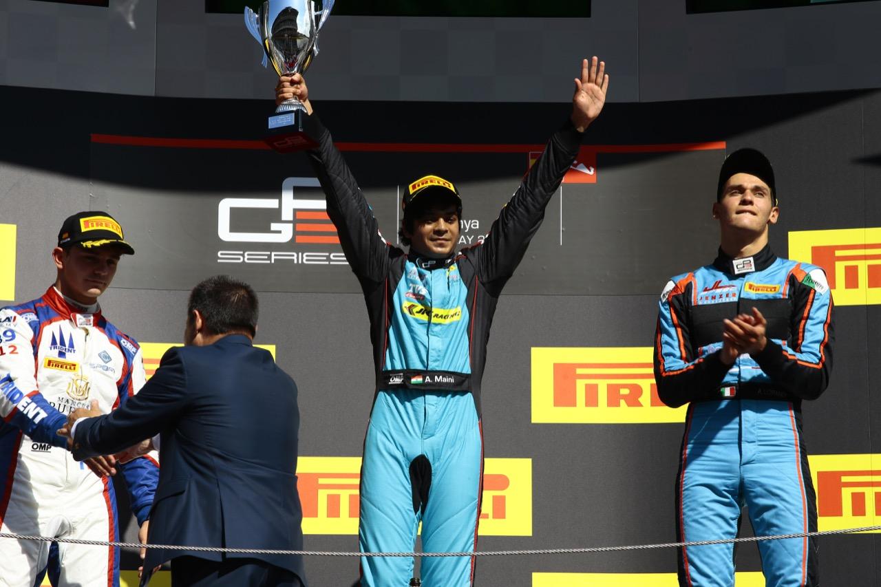 14.05.2017 - Race 2, 2nd place Dorian Boccolacci (FRA) Trident, Arjun Maini (IND) Jenzer Motorsport race winner and 3rd place Alessio Lorandi (ITA) Jenzer Motorsport