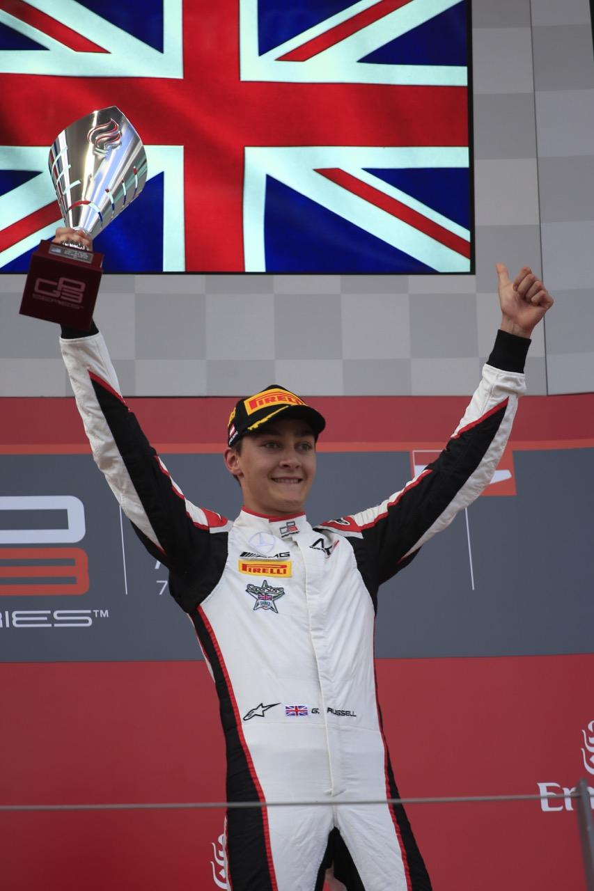 08.07.2017- Race 1 podium, winner George Russell (GBR) ART Grand Prix