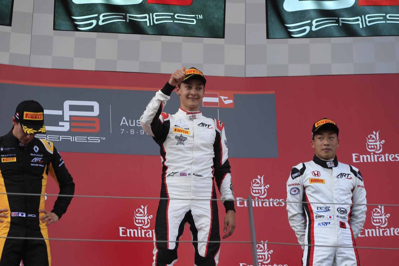 08.07.2017- Race 1 podium, winner George Russell (GBR) ART Grand Prix, 2nd Jack Aitken (GBR) ART Grand Prix, 3rd Nirei Fukuzumi (JAP) ART Grand Prix