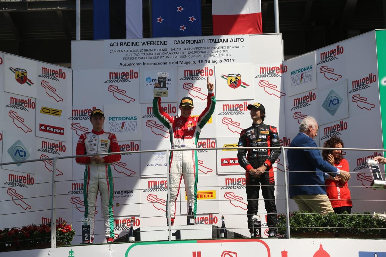 Podio gara 1, Marcus Armstrong (Prema Power Team,Tatuus F.4 T014 Abarth #9), Juri Vips (Prema Power Team,Tatuus F.4 T014 Abarth #44), Lorenzo Colombo (Bhaitech Srl,Tatuus F.4 T014 Abarth #6)
