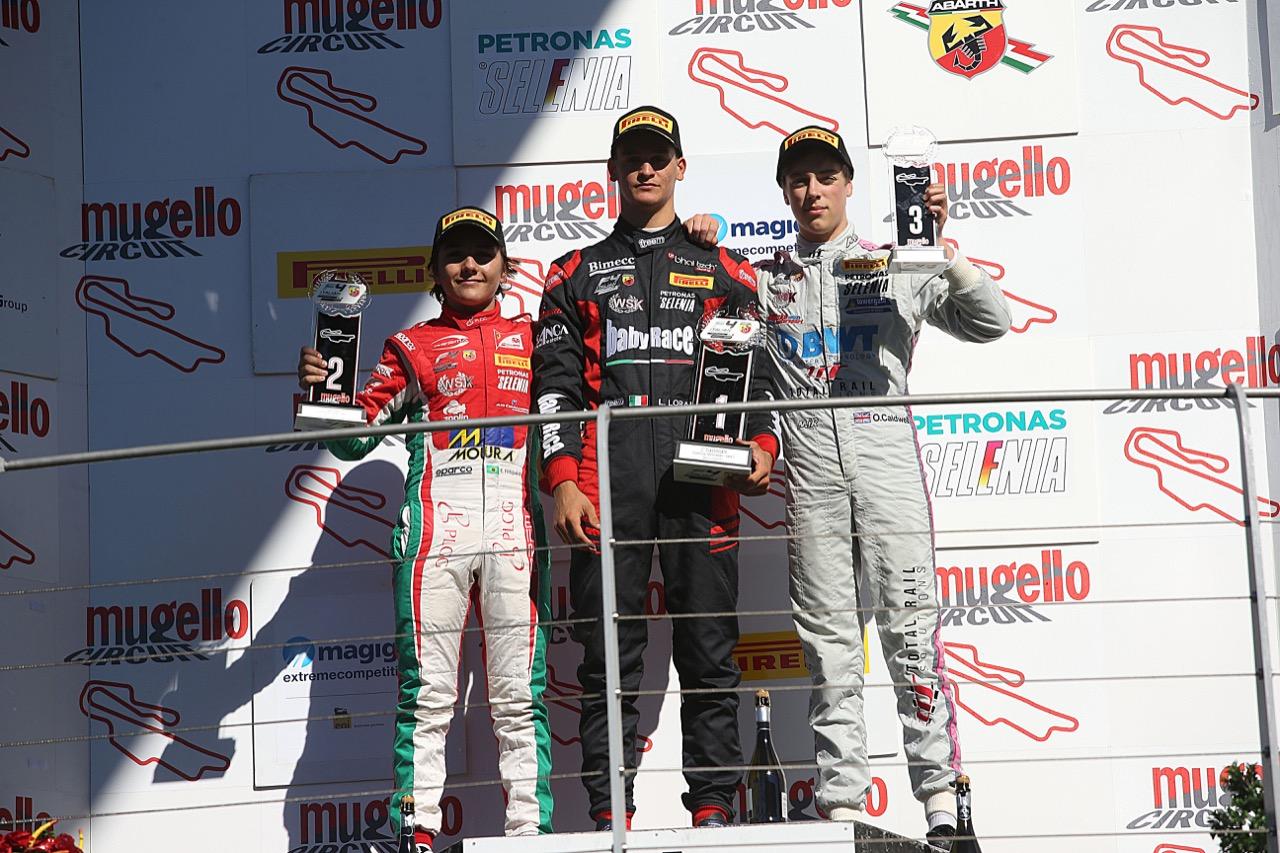 Podio Rookie gara 3, Leonardo Lorandi (Baithech Srl ,Tatuus F.4 T014 Abarth #11), Enzo Fittipaldi (Prema Power Team,Tatuus F.4 T014 Abarth #74), Olli Caldwell (BWT Mucke Motorsport,Tatuus F.4 T014 Abarth #64)