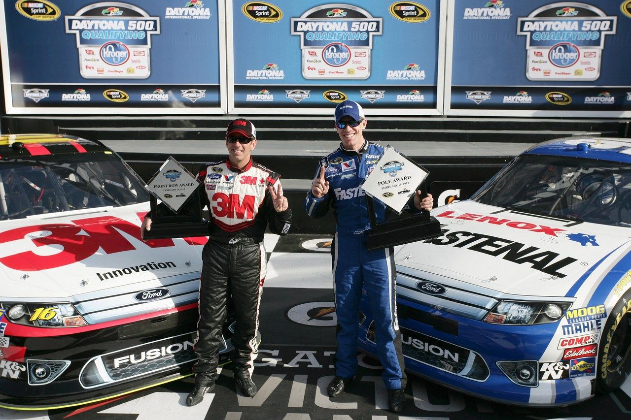 19.02.2012 Daytona Beach, FL, Qualifying, First Row for Roush Fenway, 2nd Greg Biffle, Roush Fenway Racing Ford and 1st Carl Edwards, Roush Fenway Racing Ford - Daytona International Speedway, Daytona 500, NASCAR, Sprint Cup Series