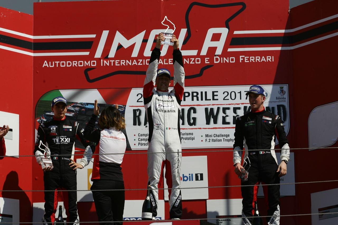 Race 2 podium, Enrico Fulgenzi (ITA), Porsche 911 GT3 Cup,Ghinzani Motorsport, Riccardo Pera (ITA), Porsche 911 GT3 Cup,Ebimotors, Alessio Rovera (ITA),Porsche 911-GT3 Cup,Tsunami RT