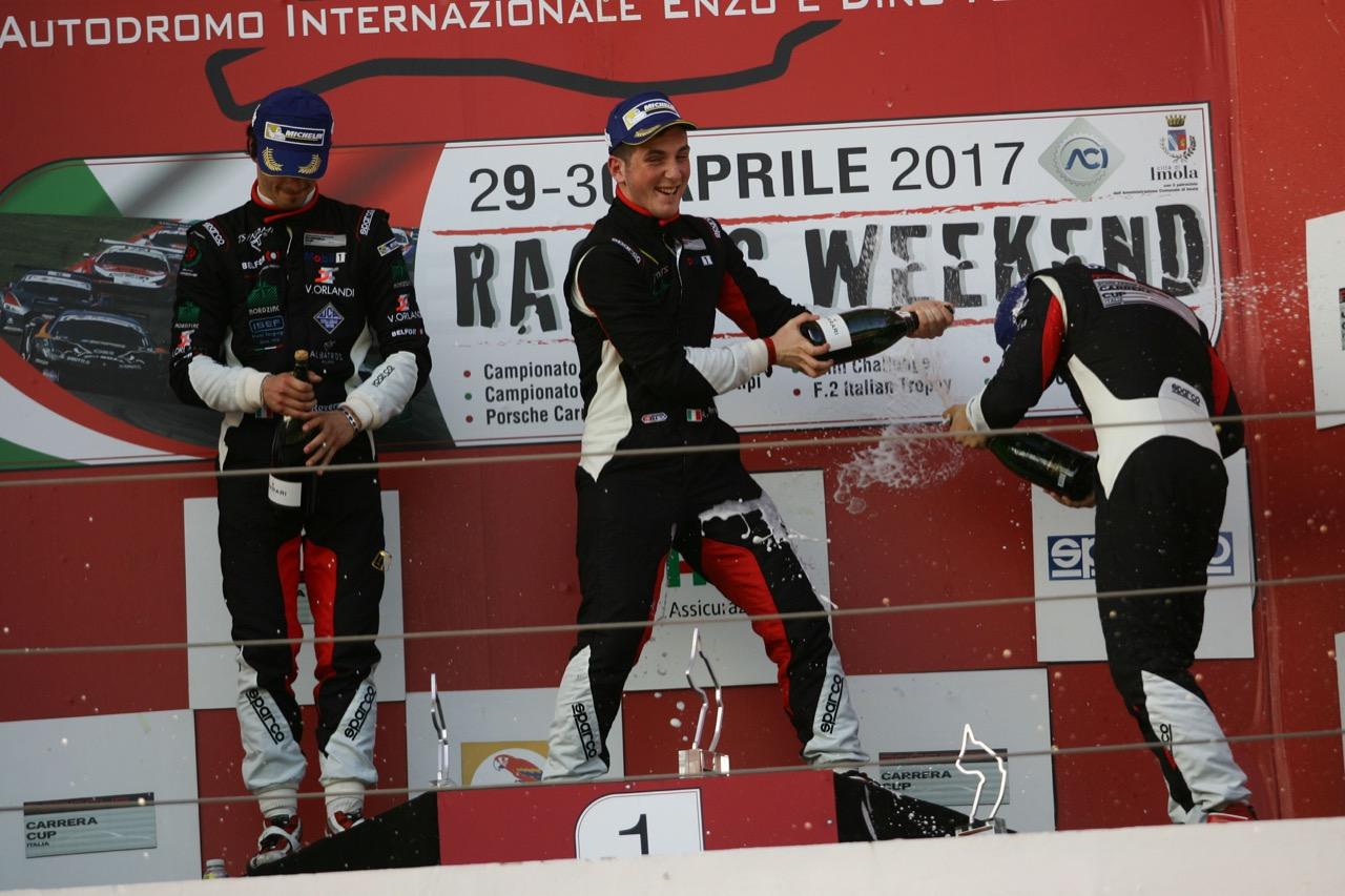 Race 1 podium, Riccardo Pera (ITA), Porsche 911 GT3 Cup,Ebimotors, Alessio Rovera (ITA),Porsche 911-GT3 Cup,Tsunami RT, Cazzaniga-D'amico (Vincenzo Sospiri Racing,Lamborghini Huracan, S.GTCup #116)