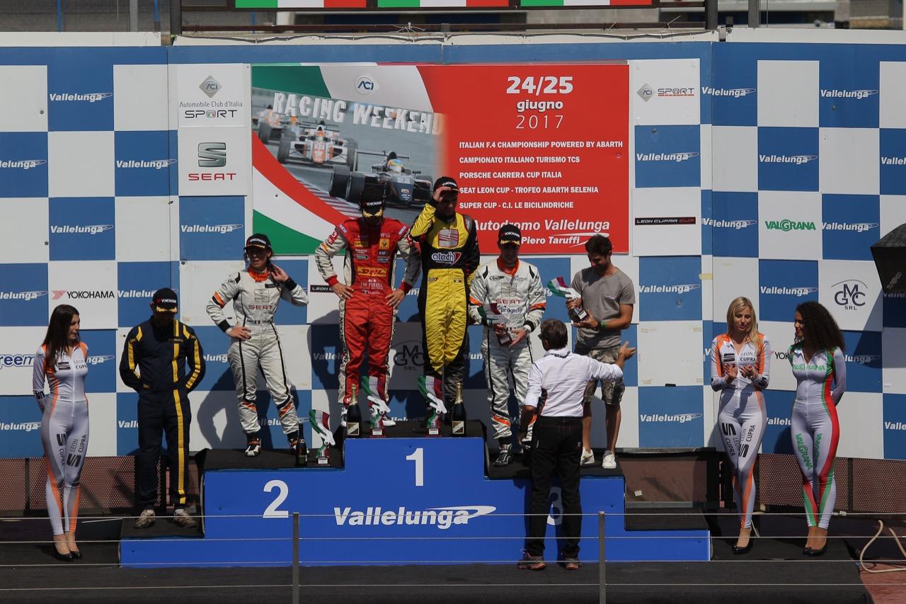 Podium race 1, Gabriele Volpato (ITA) Lorenzo Nicoli (ITA)SEAT Leon Racer Cup,BD Racing, Carlotta Fedeli (ITA) SEAT Leon Cup Racer,BD Racing, Matteo Matteo Greco (ITA) SEAT Leon Cup Racer