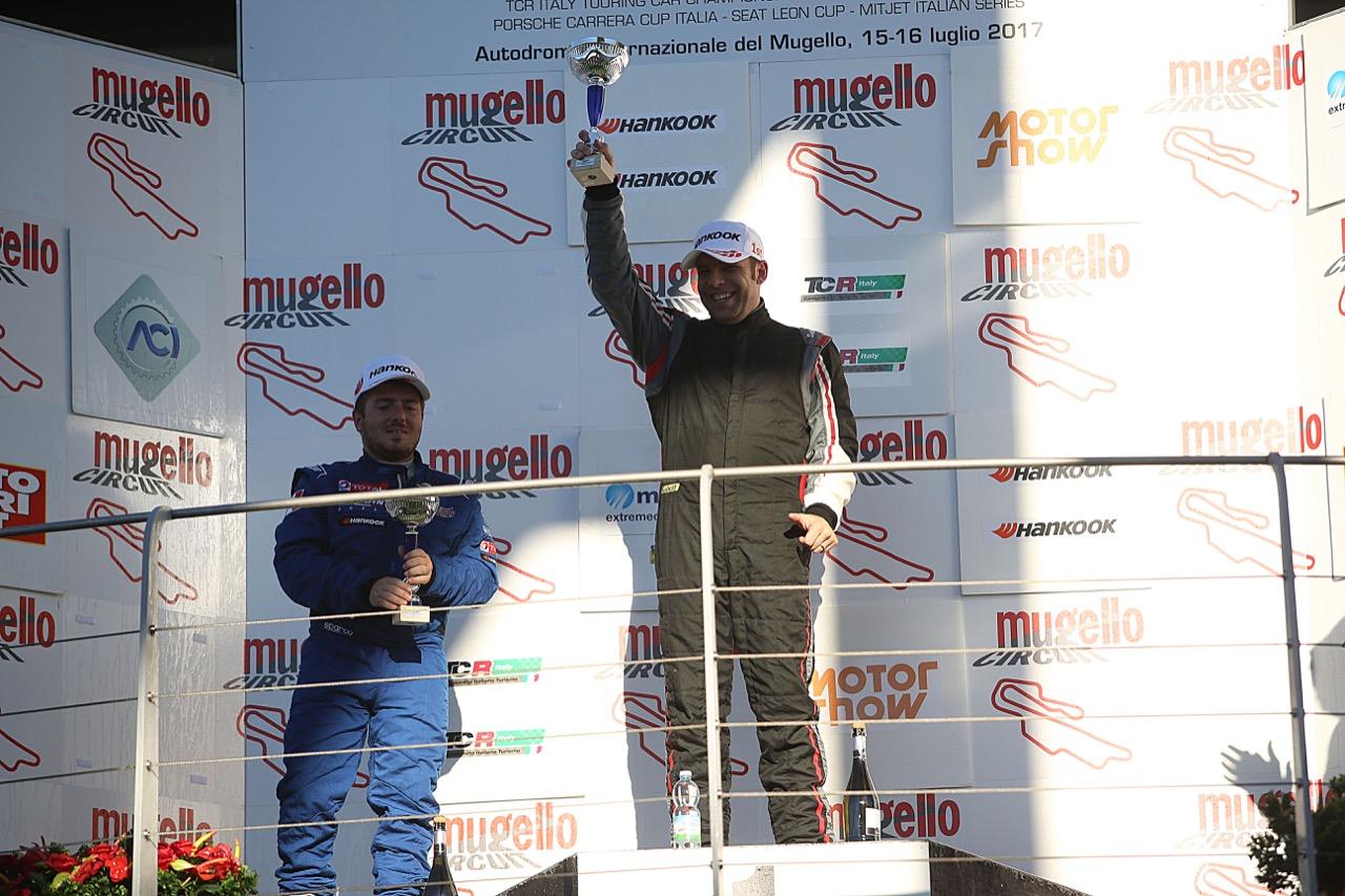Podio TCT gara 2, Raimondo Ricci (Sport & Comunicazione by Autostar,PeugeoT 308 MI16-TCT#104),Gianluca Mauriello (Arduini Corse,PeugeoT 308 MI16-TCT#102)