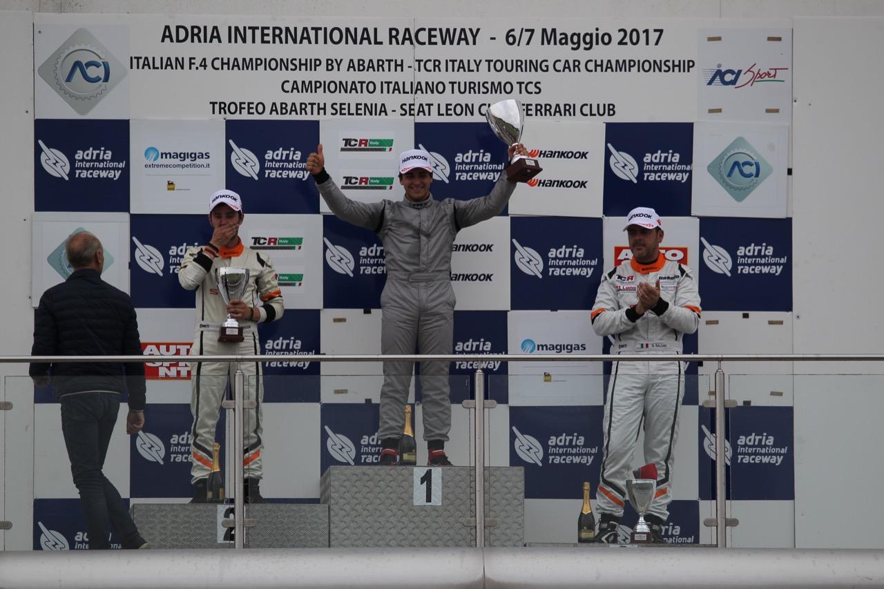 Gara 2 podio TCR, Eric Scalvini (MM Racinge,Honda Civic TCR-TCR #9),  Giacon-Giacon (Opel Astra-TCR-TCR #15), Nicola Baldan (Pit Lane,Seat Leon TCR-TCR #8)