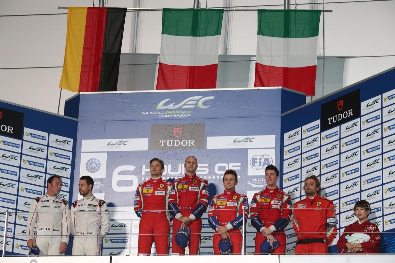 The LMGTE Pto podium (L to R): Patrick Pilet (FRA) / Frederic Makowiecki (FRA) #92 Porsche Team Manthey Porsche 911 RSR, second; Toni Vilander (FIN) / Gianmaria Bruni (ITA) #51 AF Corse Ferrari F458 Italia, race winners; Davide Rigon (FRA) / James Calado (GBR) #71 AF Corse Ferrari F458 Italia, second. 11.10.2015.