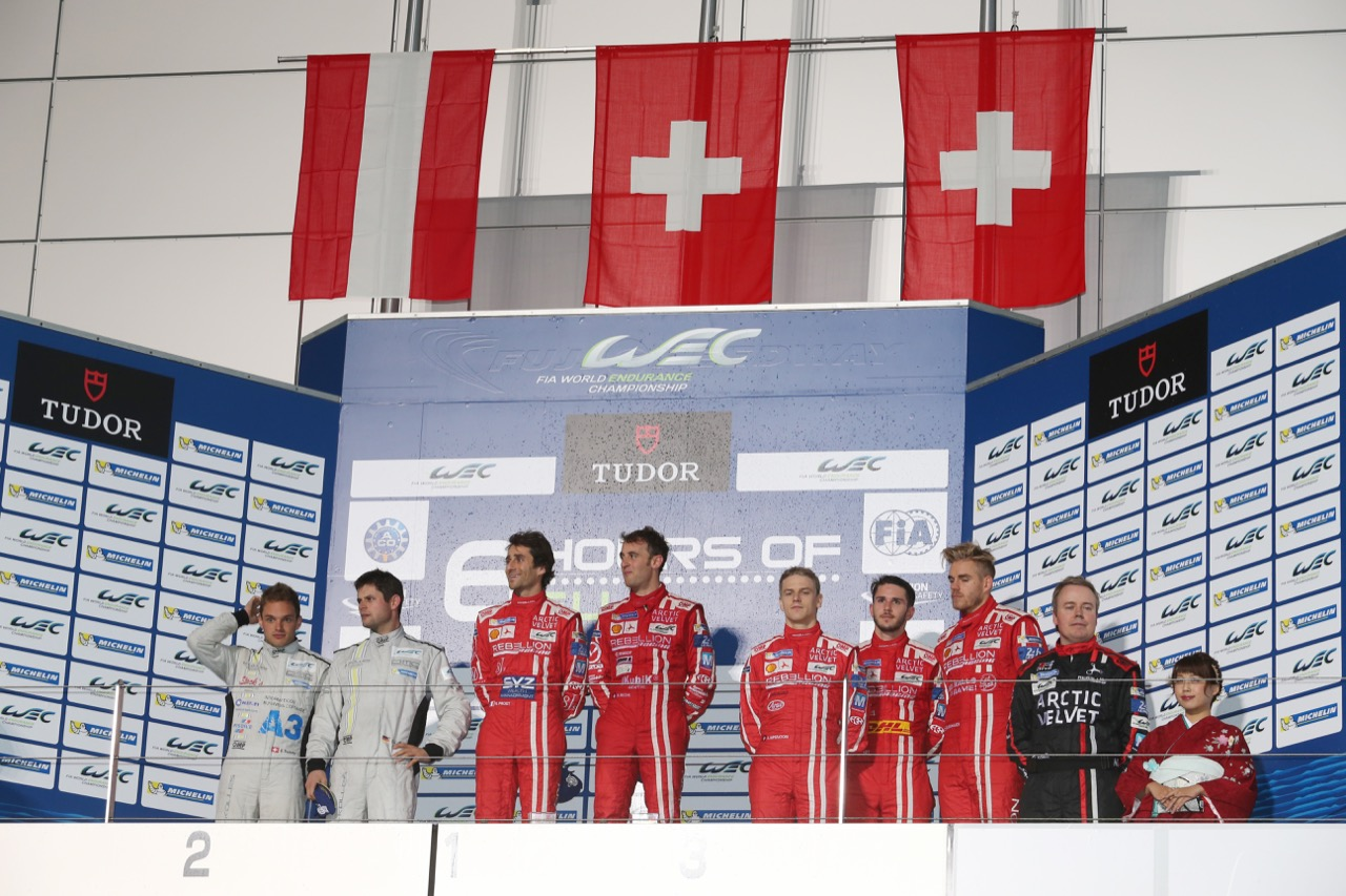 The podium (L to R): Simon Trummer (SUI) / Pierre Kaffer (GER) #04 Team Bykolles CLM P1/01 - AER; Nicolas Prost (FRA) / Mathias Beche (SUI) #12 Rebellion Racing Rebellion R1 Toyota; Alexandre Imperatori (SUI) /  Daniel Abt (GER) / Dominik Kraihamer (AUT) #13 Rebellion Racing Rebellion R1 Toyota. 11.10.2015.