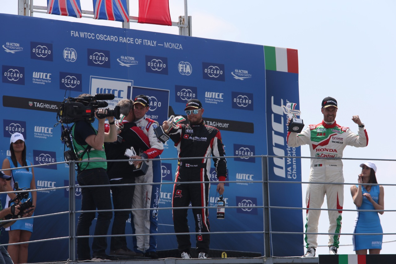 Podium race 1 with: winner Tom Chilton (GBR), second Rob Huff (GBR) and third Rob Huff (GBR)