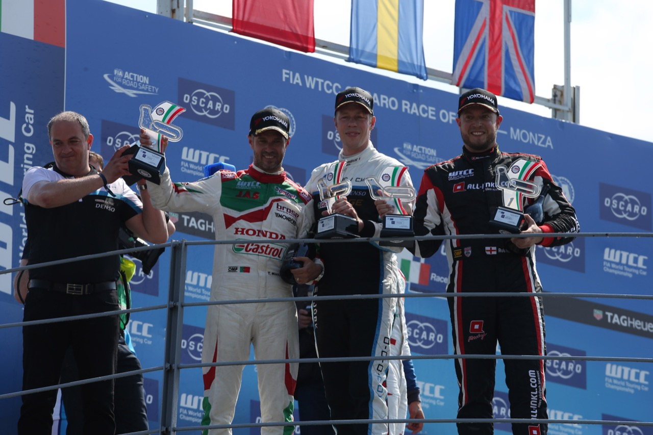 Podium race 2 with: winner Thed Björk (SWE), second Tiago Monteiro (PRT) and third Rob Huff (GBR)