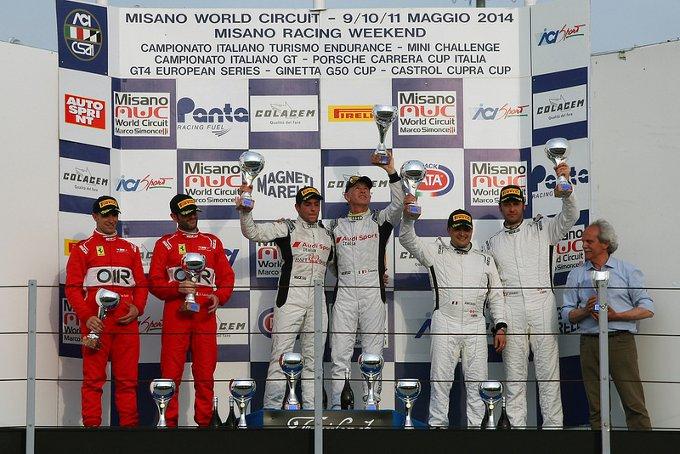 A Misano Adriatico secondo centro Audi grazie alla rimonta di Marco Mapelli e Thomas Schoeffler nel GT Italiano