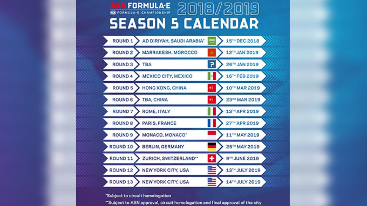 Civ Calendario.Formula E Annunciato Il Calendario Della Stagione 2018 2019