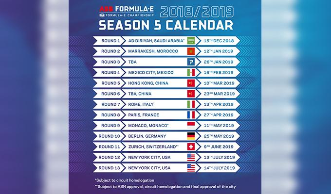 Formula E, annunciato il calendario della stagione 2018/2019