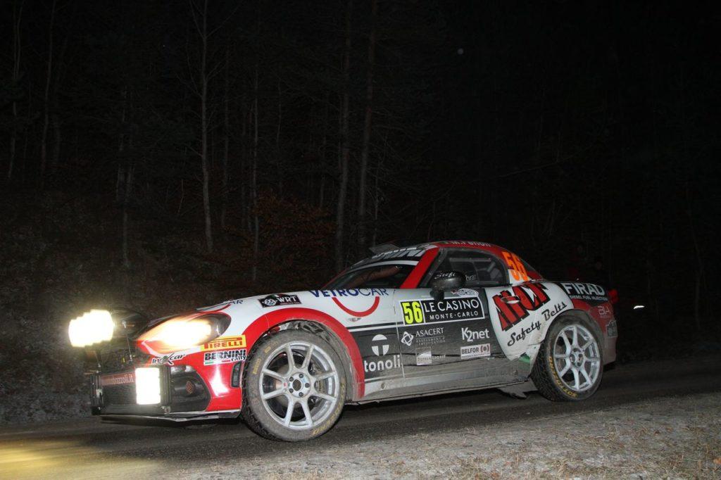 FIA R-GT | Brazzoli e Fenoli conducono l'Abarth 124 in vetta al Rallye Monte Carlo