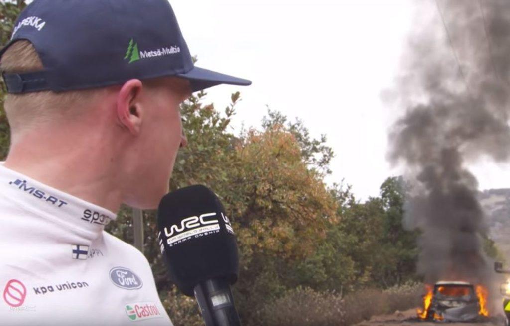 WRC | L'incendio della Ford Fiesta WRC di Lappi resta un mistero
