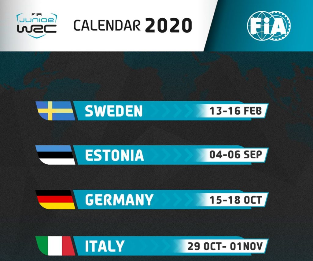 Junior WRC 2020, ecco il calendario della ripartenza