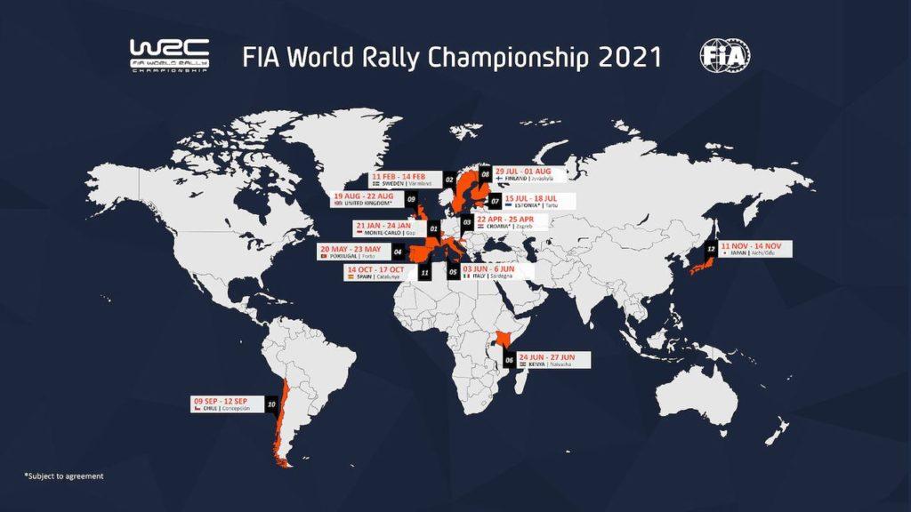 WRC | Ecco il calendario 2021: dodici round tra conferme e novità, anche anti Covid