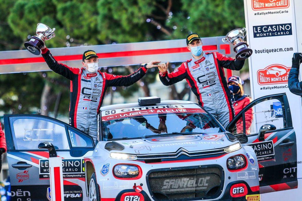 WRC | Rallye Monte Carlo 2021, tripletta vincente per le Citroen C3 Rally2 nel WRC3. Podio per Camilli nel WRC2