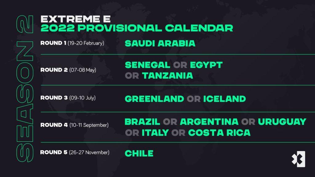 Extreme E   Il calendario (molto provvisorio) per il 2022: in lizza anche l'Italia